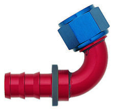 XRP 231212 Push-On -12AN 120-Degree Female Hose End - Red/Blue Anodized