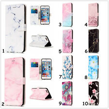 Card Holder Leather Flip Wallet Case Cover Stand Marble Floral For iPhone Huawei