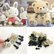100Pcs Black Plastic Safety Eyes For Teddy Bear Doll Animal Puppet Crafts 6-10mm