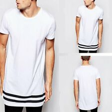 Men Hem Black And White Striped T-Shirt Short Sleeve Hipster Cotton Top Quality