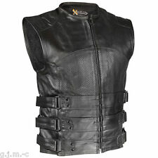 Xelement XS815 Men's Black Bandit Armored Premium Leather Motorcycle Vest