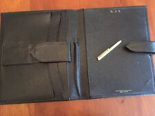 LEATHER SMYTHSON OF BOND STREET WRITING IPAD ORGANISER CASE & GOLD PEN  INCLUDED