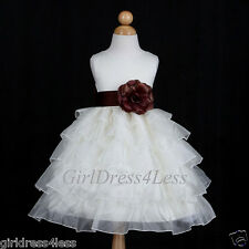 IVORY/CHOCOLATE BROWN PRINCESS WEDDING FLOWER GIRL DRESS 12M 18M 2/2T 4 6 8 10