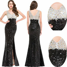 Sexy Long Sequin Beads Prom Dresses Evening Party dress Cocktail Split Ball Gown