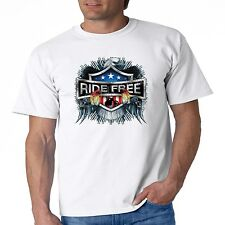 Biker T Shirt Ride Free Eagle Wing USA American Flag Chopper Route 66