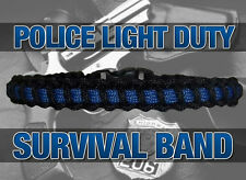 "Police ""Thin Blue Line"" Light Duty Paracord Survival Bracelet Band"