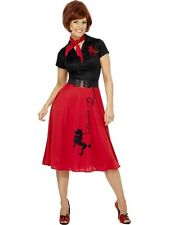 Adult 50s-60s Rock & Roll Poodle Ladies Fancy Dress Costume Party Outfit