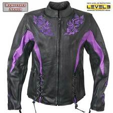 Xelement 2027 Womens Embroidered Flower Soft Thick Leather Motorcycle Jacket