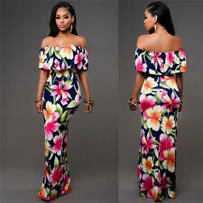 Women Off Shoulder Strapless Floral Evening Party Beach Casual Long Maxi Dress