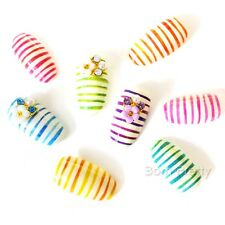 Water Decals Nail Art Transfers Stickers Plastic Rainbow Lines Decorations