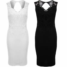 Womens Floral Lace Crochet V Neck Open Keyhole Back Textured Bodycon Dress