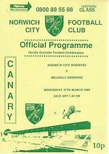 NORWICH CITY RESERVES v MILLWALL 92-3 Football Combination Programme