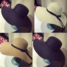 New Women Ladies Summer Wide Brim Beach Sun Hat Straw Floppy Fedora Bohemia Cap