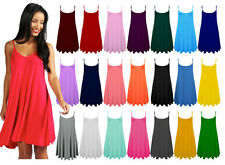 Ladies Womens Plain Sleeveless Flared Cami Strappy Dress Top Sizes UK 8-28 »