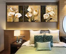 Framed Home Decor Canvas Print Painting Wall Art White Rose Tulip Arum-lily Flow