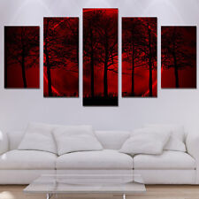 Framed Home Decor Canvas Print Painting Wall Art Red Moon Sky Trees