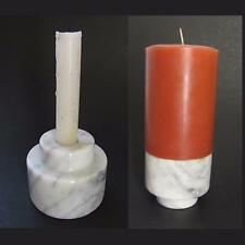 Marble Candle Holder Candlestick Base White w Gray Veins Pillar or Taper Heavy