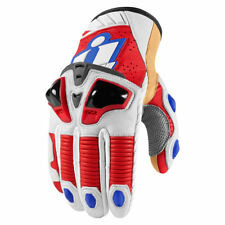 Icon Mens Glory Red/White/Blue Leather Hypersport Pro Motorcycle Short Gloves