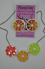 NEW Citrus Slice Necklace & matching earrings ( set in Orange , Red and Green )