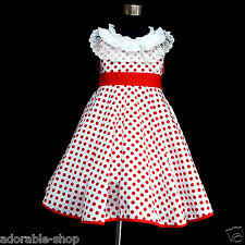 FREE SHIPPING Reds White Easter Polkadot Flower Girls Party Dresses SIZE 2 to 8Y