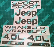 JEEP WRANGLER Sport 4.0L HIGH OUTPUT Replacement fender Decal sticker