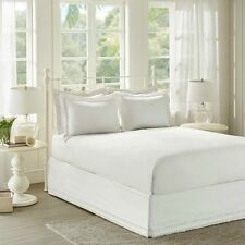 Deluxe Classic White Ivory Ruffles Bedskirt Shams 3 pcs Cal King Queen Full Twin