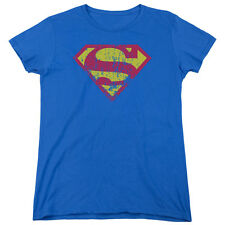 Superman CLASSIC LOGO DISTRESSED Licensed Women's T-Shirt All Sizes