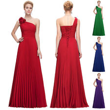 Stock LONG PROM One Shoulder Party Gown Prom Ball Masquerade Evening Dress 2-14