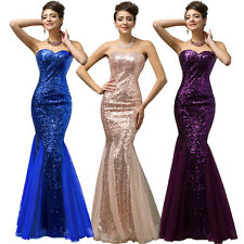 Hot Sequined Mermaid Wedding Bridesmaid Prom Dress Long Formal Evening Ball Gown