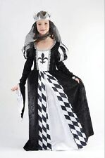 Child Medieval Black & White Chess Queen Girls Fancy Dress Kids Costume Outfit