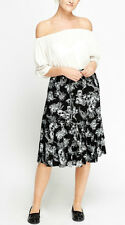 BNWT*SIZE 22*C&A*Ladies Black Floral Lined Elasticated Waist Midi Skirt PLUS new