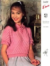 """Knitting Pattern Lady's 4Ply Lacy Jumper With Tie Neck 30-40"""" To Knit Emu 3459"""