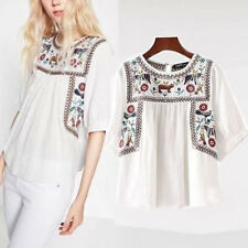 Vintage Ethnic white Hippie floral Embroidered Boho tunic ETHNIC TOP shirt Blous