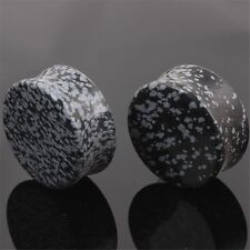 2PCS Unique 3 Colors Natural Stone Ear Plugs Tunnel Body Piercing Jewelry