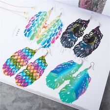 New 1 Pair Colour Earrings Women Earrings Leaves Earrings Feather Earrings