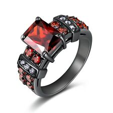 AAA  Wedding Size 7,8,9,10 Red Garnet Black 10KT Gold Filled Womens Fashion Ring