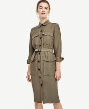 NWT ANN TAYLOR Green Long Sleeves Belted Safari Trench Dress Size 4