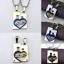 2017 New Couple Heart Shape Love Stainless Steel Pendant Necklace Jewelry Gift