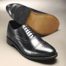 Samuel Windsor Classic Handmade Mens Shoes Semi Brogue Black Leather Lace Up