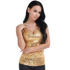 Women Lady Shiny Sequin Top Tank Cami Tops Bling Spaghetti Strap Vest Blouse