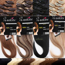 Silky Clip In Hair Extensions 100% Remy Real Human Hair Full Head 7/8PCS BS378