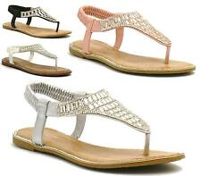 New Womens Flat Low Heel Diamante Toe Post Thong Flip Flop Summer Party Sandals