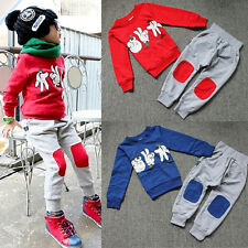NEW Autumn Baby Kids Boys Finger Games Sport Tracksuits 2pcs Outfit Sets 2-7Y