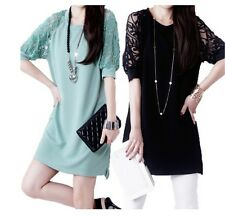 Women 's Short Sleeves Skirt Dress Lace Evening Party Cocktail Short Mini Dres