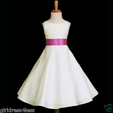 IVORY/FUCHSIA HOT PINK SASH A LINE FLOWER GIRL DRESS 12-18M 2 4 6 8 10 12 14 16