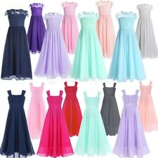 Girls Lace Chiffon Dress Flower Wedding Pageant Formal Party Birthday Dress Gown