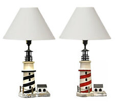 Nautical Striped Lighthouse Wooden Table Lamp - Red Or Black