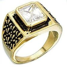 l2W077PB MANS BEZEL SET  SIMULATED DIAMONDS MENS RING ALL SIZES SIGNET PINKY