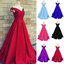 Off the Shoulder Satin Prom Party Pageant Evening Dress Bridesmaid Dress Custom