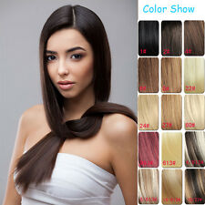 """7PCS Premium Clip In Human Hair Extensions Remy 100% Real Hair Piece 16""""-30"""" Hot"""